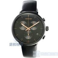 【錶飾精品】CK 手錶 K8M274CB CALIVN KLEIN 巔峰系列 鍍PVD黑 三眼計時 皮帶 男錶