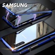 【韓式作風】SAMSUNG NOTE10/NOTE10 PLUS 萬磁王蝙蝠造型磁吸邊框雙面鋼化玻璃手機殼RCSAM109(四色)