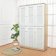 Birdie南亞塑鋼-4尺六門塑鋼百葉高鞋櫃(白橡色+白色)-121.5x37x190cm