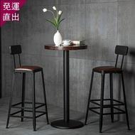 吧台椅鐵藝實木歐式吧台椅吧凳現代簡約椅子酒吧椅高腳凳子wyH【快速出貨】