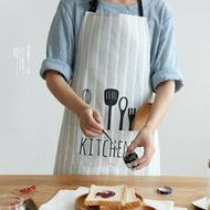 圍裙川島屋 北歐風布藝創意圍裙正韓時尚麵包店廚房家居半身圍裙QJ-4 聖誕免運
