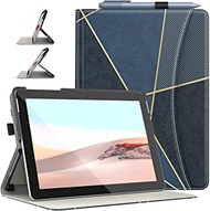 Dadanism Surface Go 2 Case with Flexible Hand Strap & Card Slots, [Multi-Angle Viewing Stand] Lightweight Shockproof Protective Cover Fit Surface Go 2 & Surface Go, Auto Sleep/Wake - Geometric Indigo