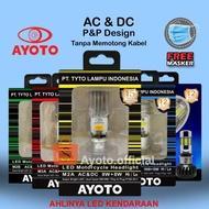 Lampu LED Motor warna KUNING Bebek Matic AYOTO M2A arus AC/DC Socket T19/H6