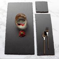 天然黑色石板盤酒店芝士板巖石盤西餐日料理壽司甜品盤創意牛排盤