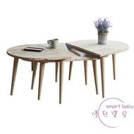 北歐時尚簡約現代實木茶几小戶型橢圓形小茶几創意休閒咖啡桌邊桌