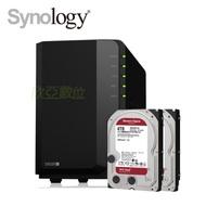 【NAS超值組】群暉 Synology DS220+ 網路儲存伺服器+WD【NAS碟紅標】4TB*2