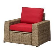 IKEA SOLLERÖN 戶外扶手椅, 棕色/frösön/duvholmen 紅色