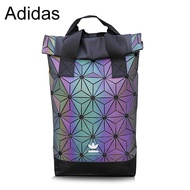 Adidas_ Fashion Trendy Clover Bag Urban Backpack 3D Classic Rhombic Geometric Backpack Double Shoulder Bag Outdoor Sports Tourist Bag Backpack Dazzle