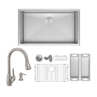 ZUHNE Modena 23 Inch 16G Stainless Single Bowl Under Mount Sink W. Grate Protector, Caddy, Colander Set, Strainer and Wica Pull Out Kitchen Faucet + Through Counter Soap Dispenser