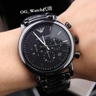 代購 ARMANI 亞曼尼/阿曼尼手錶男生男士腕錶真三眼計時多功能黑色陶瓷商務時尚休閒潮錶 43mm大錶盤 AR1507