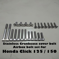 Stainless bolt Crankcase cover + Airbox set for Honda Click 125 / 150 (Zachary 08)