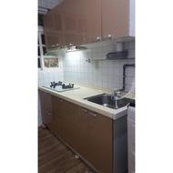 搬家便宜賣-廚具流理台人造石面板+水晶門板+木心桶+櫻花玻璃瓦斯爐+櫻花抽油煙機+不銹鋼水槽廚具二手限自取