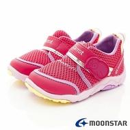 日本月星Moonstar機能童鞋Carrot公園玩耍系列寬楦軟式彎曲速乾護踝鞋款22304粉(中小童段)SUPER SALE樂天購物節