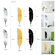 Stickers Feather Mirror Decor Plastic Decal Wall Stickers Environmental