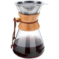 Pour over Coffee Maker, 8 Cup Glass Coffee Pot&Coffee Brewer with Stainless Steel Filter, High Heat Resistance Decanter, Measuring Scoop Included, 34 Ounce