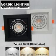 Single Eyeball Casing C/W 7w Led GU10 Lamp Holder Led Bulb (DIMMABLE) Spotlight Recessed Downlight Nordic Lighting Single Head Rectangle Downlight Eyeball Ceiling Light Lampu Hiasan Siling (ND-HA-EB-GU10-BK-1 + GU10-7W-WW)