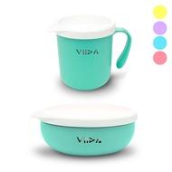 台灣 VIIDA Soufflé 抗菌不鏽鋼餐碗+不鏽鋼杯(5色可選)【麗兒采家】