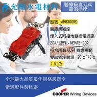 美國COOPER Wiring Devices系列  AH8300RD 醫療級 插座埋入式附接地雙插電源座(紅色)
