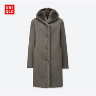 Uniqlo內刷毛長版連帽大衣外套