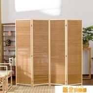 四扇 屏風隔斷移動折屏折疊日式簡約現代客廳臥室玄關實木竹編隔斷屏風