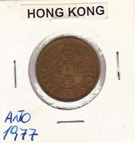 16E-468  香港1977年.伊莉莎白女皇.伍毫.銅幣 .美品..km41