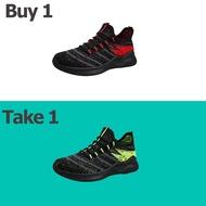 QY 2021 ซื้อ 1 แถม 1  รองเท้ารองเท้าผู้ชายรองเท้าระบายอากาศรองเท้าหุ้มส้นรองเท้าลำลองรองเท้ากีฬาผู้ชายรองเท้าตาข่ายทอบินพื้นนุ่มสบายรองเท้าวิ่งยางยืดกันกระแทกน้ำหนักเบารองเท้ากีฬาผู้ชายเหมาะสำหรับทุกโอกาสรองเท้ากีฬาสีดำ  รองเท้าผ้าใบนักเรียน คัชชูผู้ชาย