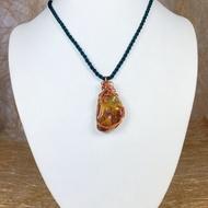 天然紅玉髓原礦原石(未染色 )金屬編織(設計款)