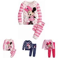 純棉秋冬季 卡通女童長袖中小童裝 米老鼠米奇 家居服套裝 睡衣