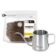 CoFeel 凱飛鮮烘豆印尼蘇門答臘黃金曼特寧中深烘焙咖啡豆半磅+魔法瓶咖啡手沖細嘴壺