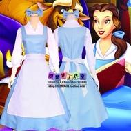 Disney迪士尼cosplay美女與野獸貝兒belle女僕裝衣服公主服裝