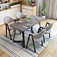 Nordic Dining Tables and Chairs Set Small Apartment Modern Minimalist Negotiation Table Rectangular Dining Table Household Iron Dining Table Dining Table