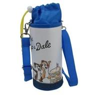 小禮堂 迪士尼 唐老鴨 奇奇蒂蒂 水壺袋 水壺背袋 皮質 防水 環保杯袋 水瓶袋 500-600ml (藍白 漢堡)