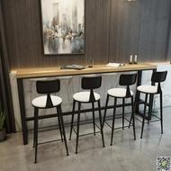 北歐鐵藝實木吧台桌家用咖啡桌星巴克長條桌餐廳高腳桌奶茶店桌椅DF 都市時尚