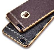 (送保護貼)iphone6/s iphone8 plus i6 i7 i8手機殼荔枝紋電鍍TPU浮雕皮紋手機殼 保護殼