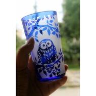 W現貨❤貓頭鷹玻璃杯高水杯倒影杯立體圖案牛奶杯