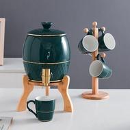 冷水壺套裝耐高溫北歐陶瓷水龍頭儲水創意超大容量家用涼白開水壺