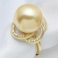 時尚品味 南洋金珠母貝珍珠戒指 貝珠戒子 925純銀鍍金色白領氣質1入