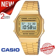 (Ready Stock) Original Casio G Shock_A168WG-9W Men Sport Digital Classic Watch Shockproof and Waterproof Stainless Steel Band Wist Sports Business Watches A168/A-168 Gold
