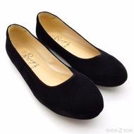 Rovy รองเท้าคัชชูผู้หญิง ส้นแบน กำมะหยี่ W1407 - สีดำ