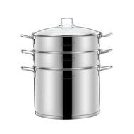 蒸籠momscook蒸鍋304不銹鋼家用多層蒸格蒸屜2層雙層3層復底加厚28cm