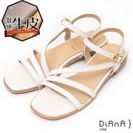 【DIANA】DIANA耐磨質感牛皮2.5公分方頭低跟繞帶S勾繫帶涼鞋-波希米亞(白)