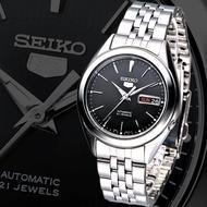 SEIKO 5 Automatic Men's Watch รุ่น SNKL23K1 - สายแสตนเลสสีเงิน หน้าปัดสีดำ - มั่นใจ ของแท้ 100% ประกันศูนย์ Seiko ไทย 1 ปี