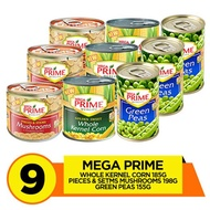 Mega Prime Kernel Corn 185g, Pieces and Stems Mushroom 198g, Green Peas 155g Pack of 9