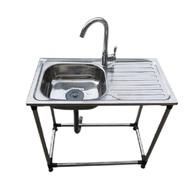 洗碗池 不銹鋼水槽帶支架落地式水盆帶粘板平臺水池移動水槽支撐架洗菜盆