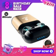 Wiresto ไร้สายที่แท้จริงหูฟังบลูทูธสเตอริโอบลูทูธ 5.0 ชุดหูฟังขนาดเล็กพร้อมไมโครโฟนหูฟัง ชุดหูฟังไร้สายบลูทูธ กันน้ำหูฟังสเตอริโอหูฟังเล่นกีฬาพร้อมไมโครโฟนสำหรับ หูฟังเอียบัด True Wireless Earbuds Mini Bluetooth Earphone