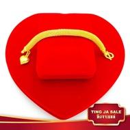 สร้อยข้อมือทอง ลายมัทรี ห้อยหัวใจ จิกเพชร น้ำหนัก 2บาท มีความยาวให้เลือกหลายขนาด ชุบด้วยเศษทอง งานเคลือบแก้ว เศษทองเยาวราช ชุบทอง100% งานฝีมือจากช่างเยาวราช แถมฟรีตลับใส่ทอง