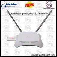 Promo !!!Paket Router Tp-link TL-MR3420 + Modem 4G USB wifi All GSM 300mbpsModem wifi 4g all operator murah/ Modem smartfren 4g/ Mifi modem wifi 4g murah/Mifi modem wifi 4g all operator