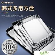 托盤 不銹鋼方盤子長方形平底加厚304托盤不粘底電磁爐烤箱家用