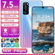 P40 Pro Aova A11 โทรศัพท์สมาร์ทโฟน ถ่ายรูป ดูหนัง ฟังเพลง ความจำ 6G+128G หน้าจอหยดน้ำ 7.5 นิ้ว ความจำมาก สแกนลายนิ้วมือ 6800mAh