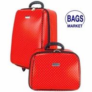 Wheal กระเป๋าเดินทาง กระเป๋าล้อลาก กระเป๋าแฟชั่น เซ็ทคู่ ลิขสิทธิ์ของแท้  20/14 นิ้ว B-Spot Red Classic Code F2014-BL (สินค้ามาตราฐาน จากโรงงานโดยตรง)